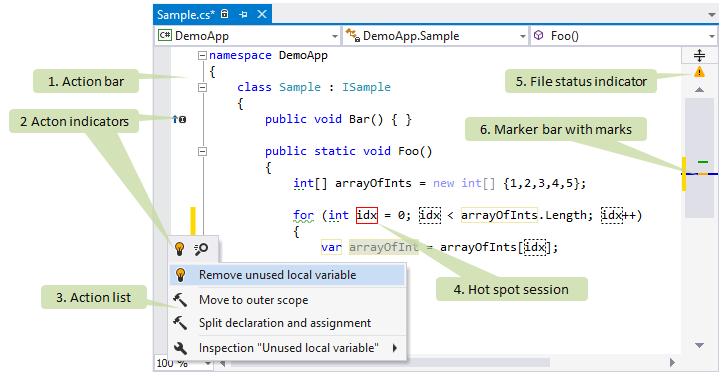 ReSharper controls in Visual Studio editor