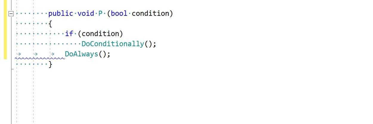 ReSharper code inspection: Incorrect indent (tabs/spaces mismatch)
