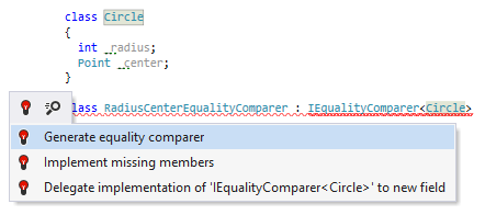 ReSharper: Generate equality comparer quick-fix