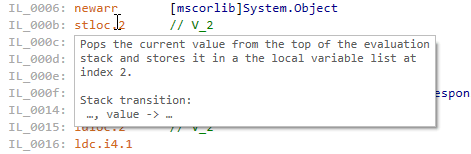 Details of IL instruction in a tooltip