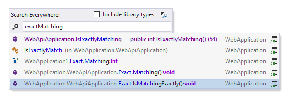 ReSharper: Fuzzy matching search items