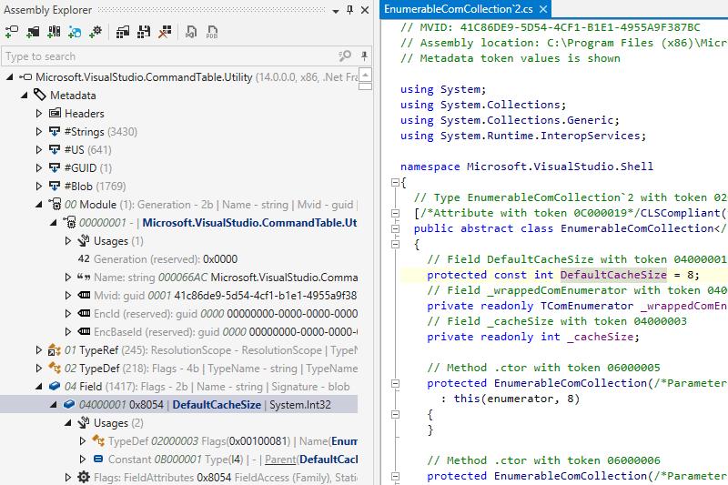 Exploring assembly metadata with dotPeek