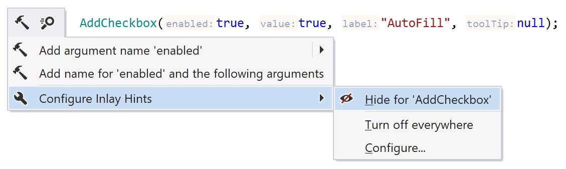 ReSharper: configuring parameter name hints from the Alt+Enter menu
