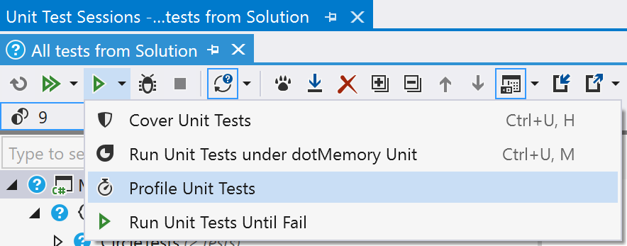 Profile Unit Tests toolbar