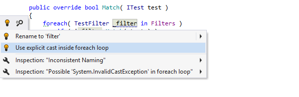Quick-fixes for code issues in ReSharper
