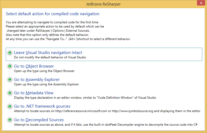 Selecting default navigation for library symbols