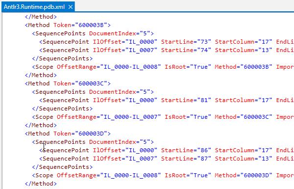 dotPeek: PDB contents displayed as an XML file