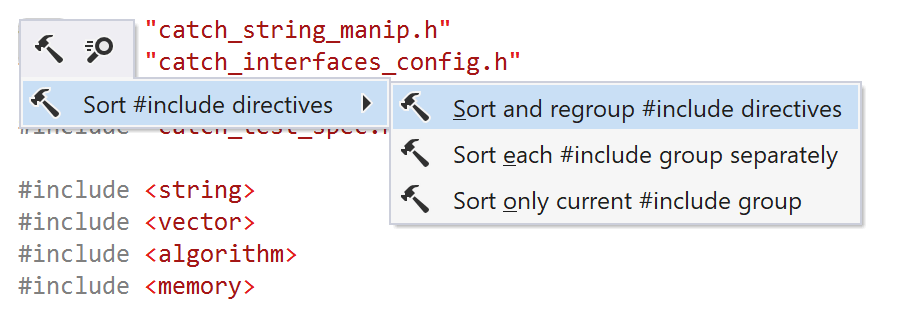 ReSharper C++: Sort and regroup #include directives