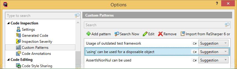 Pattern catalog in ReSharper options