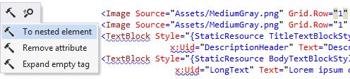 ReSharper's context actions in XAML code of a Universal App