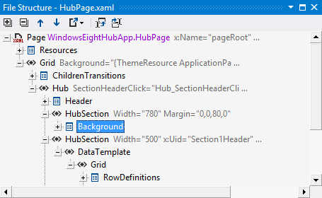 ReSharper shows structure of a XAML file