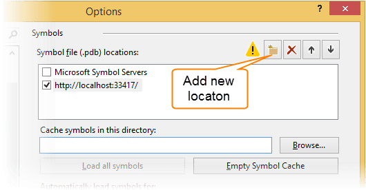 Debugging symbols options in Visual Studio