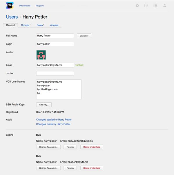 General settings of a user profile