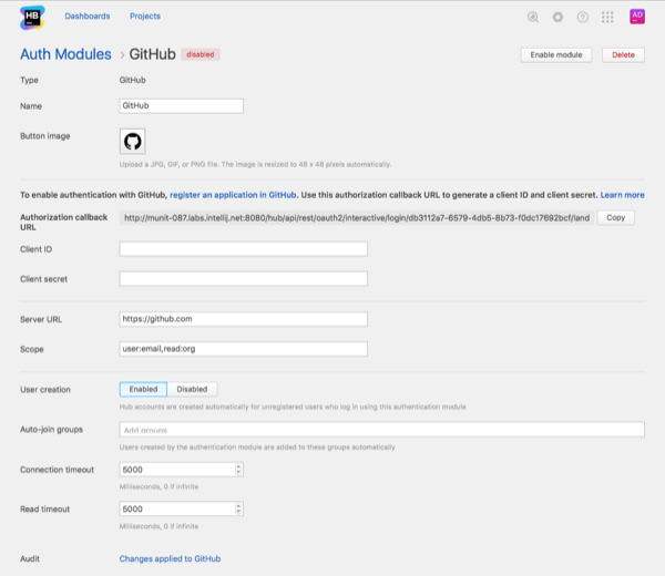 GitHub auth module settings