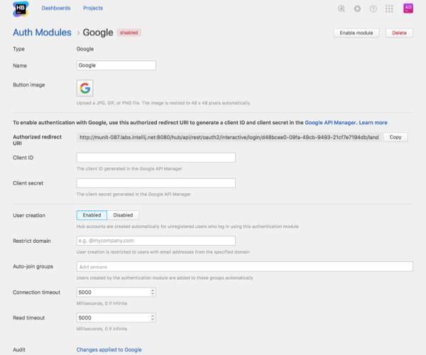 Google auth module settings