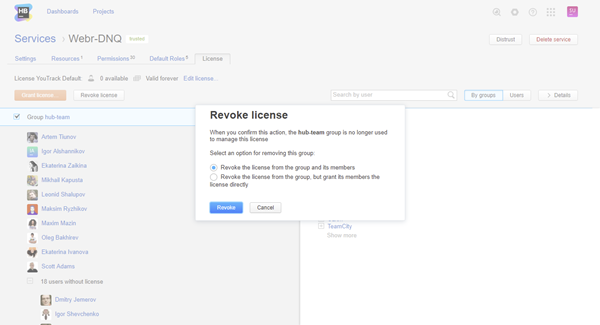 revoke license group