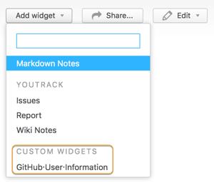 dashboard custom widget menu