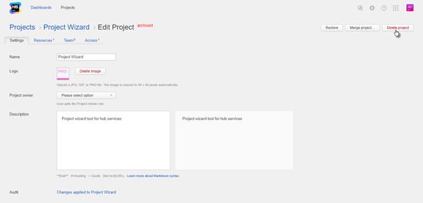 delete hub project