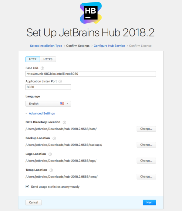 hub install settings http advanced