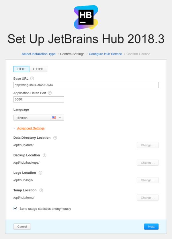 Docker install http settings advanced