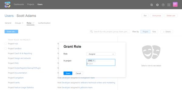 Grant role user
