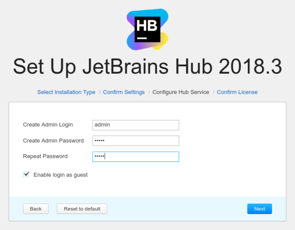 Install Hub: Hub service settings