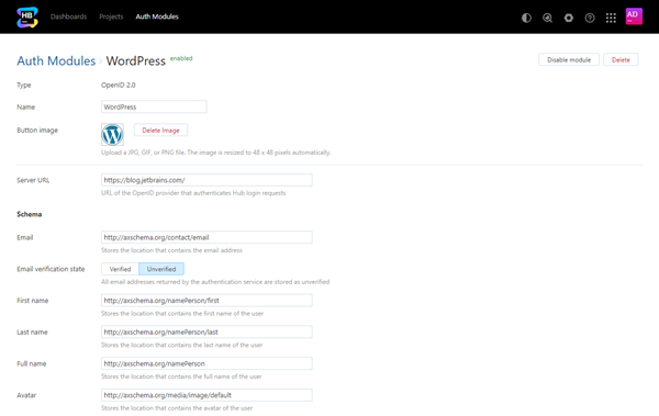 Open id auth module settings
