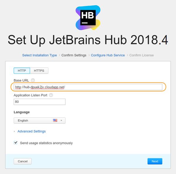 Hub on MS Azure: Change Hub base url