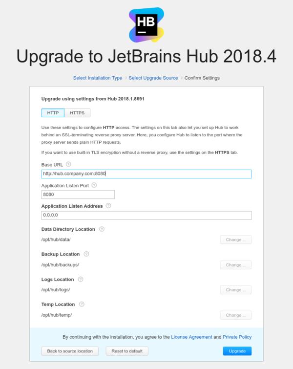 Docker upgrade confirm settings