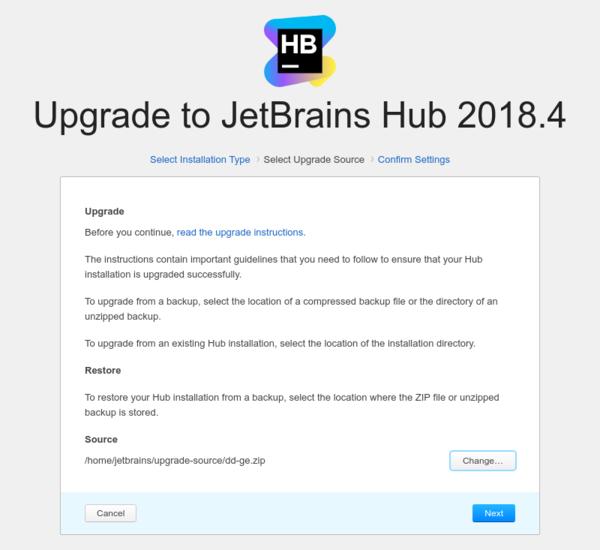 Docker upgrade: Select backup