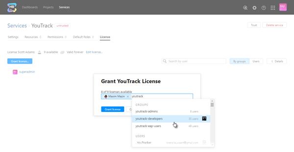 Grant license dialog