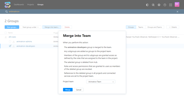 Merge into team select project team