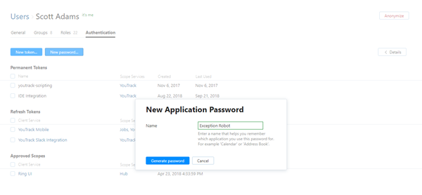 New application password dialog