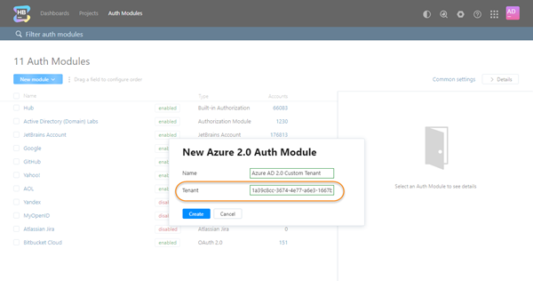 New azure auth custom tenant