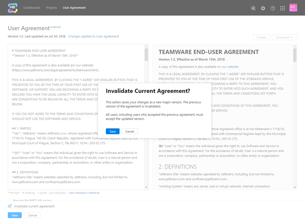 User agreement invalidate