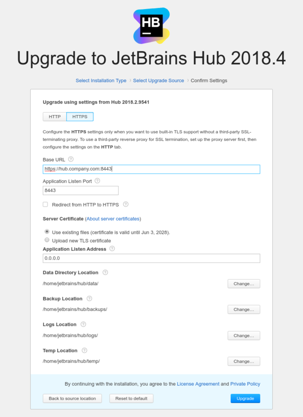 Upgrade Hub - Use existing valid certificate