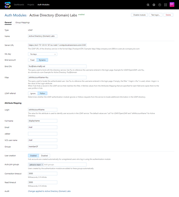 Active Directory auth module settings