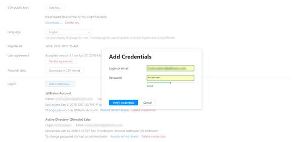 Add credentials dialog