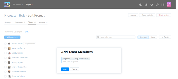 Add team groups