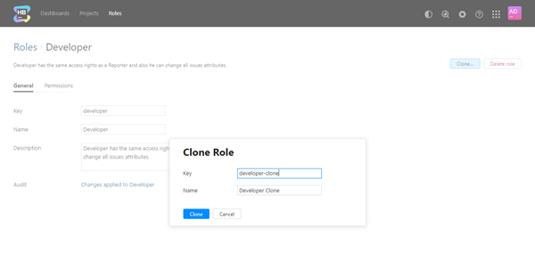 Clone role dialog