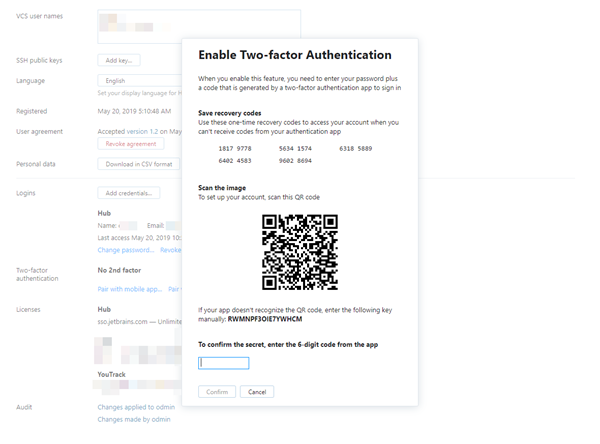 Enable two factor authentication dialog