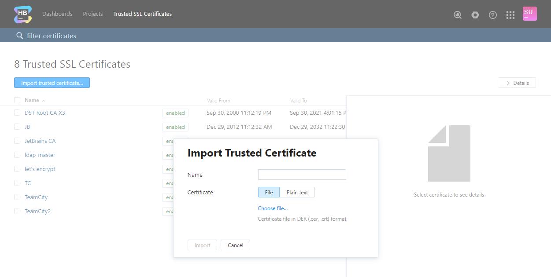 Trusted SSL Certificates - Help   Hub
