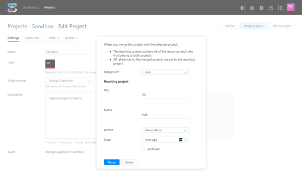 Merge project dialog resulting project