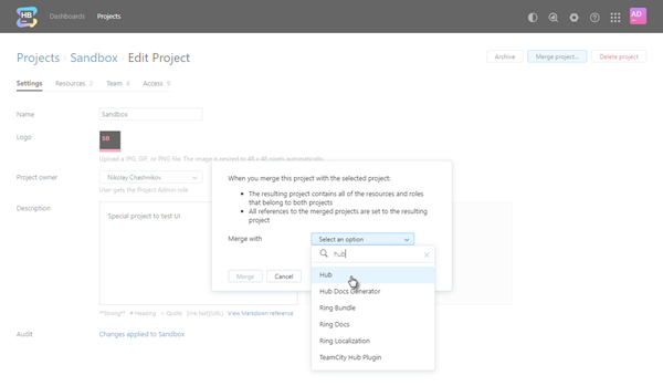 Merge project dialog select project