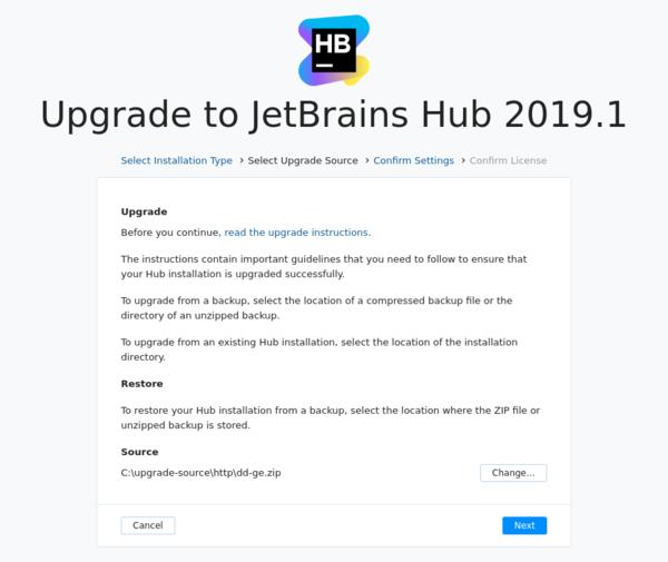 Upgrade Hub: Select upgrade source