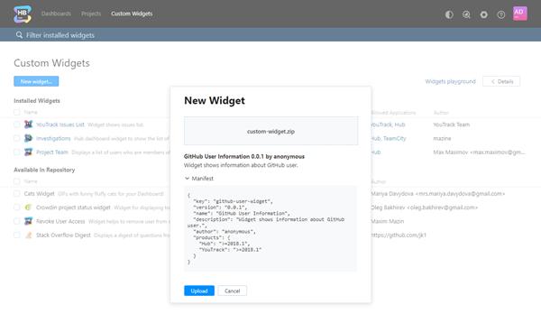 New widget dialog with info