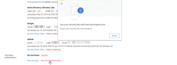 Chrome dialog for pairing with a hardware device, no fingerprint sensor.