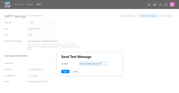 Smtp send test email