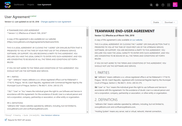 User agreement enabled