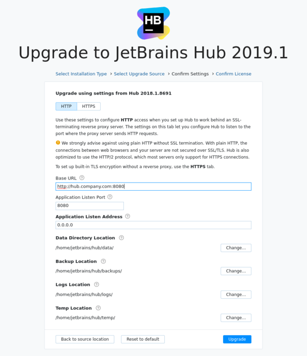 Hub ZIP upgrade: Confirm settings